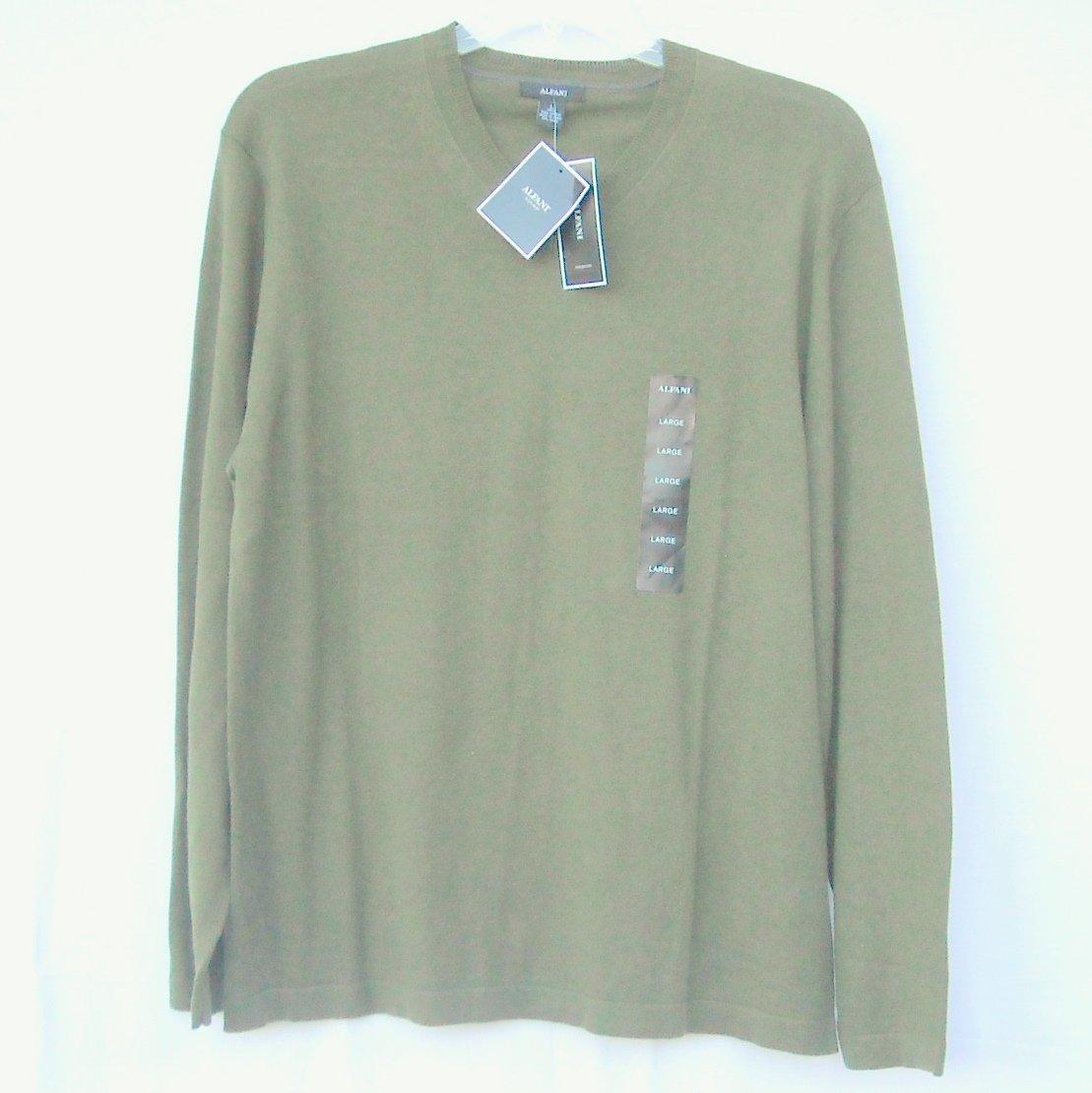 Alfani Fir Htr V Neck Pima Cotton Boys Long Sleeve Knit Shirt Sweater size L