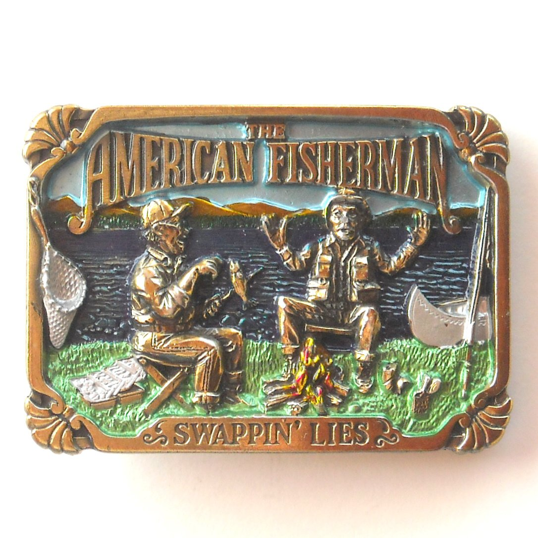 Fisherman Swappin Lies Great American Buckle Co Pewter Belt Buckle