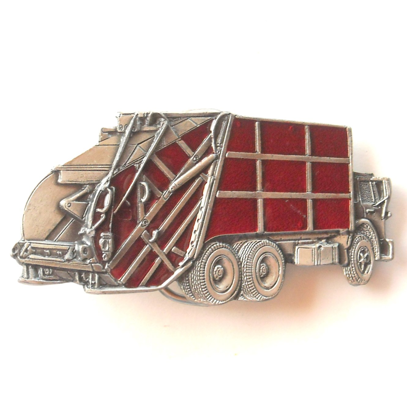 Vintage Great American Buckle Co Garbage Trash Truck pewter alloy belt buckle