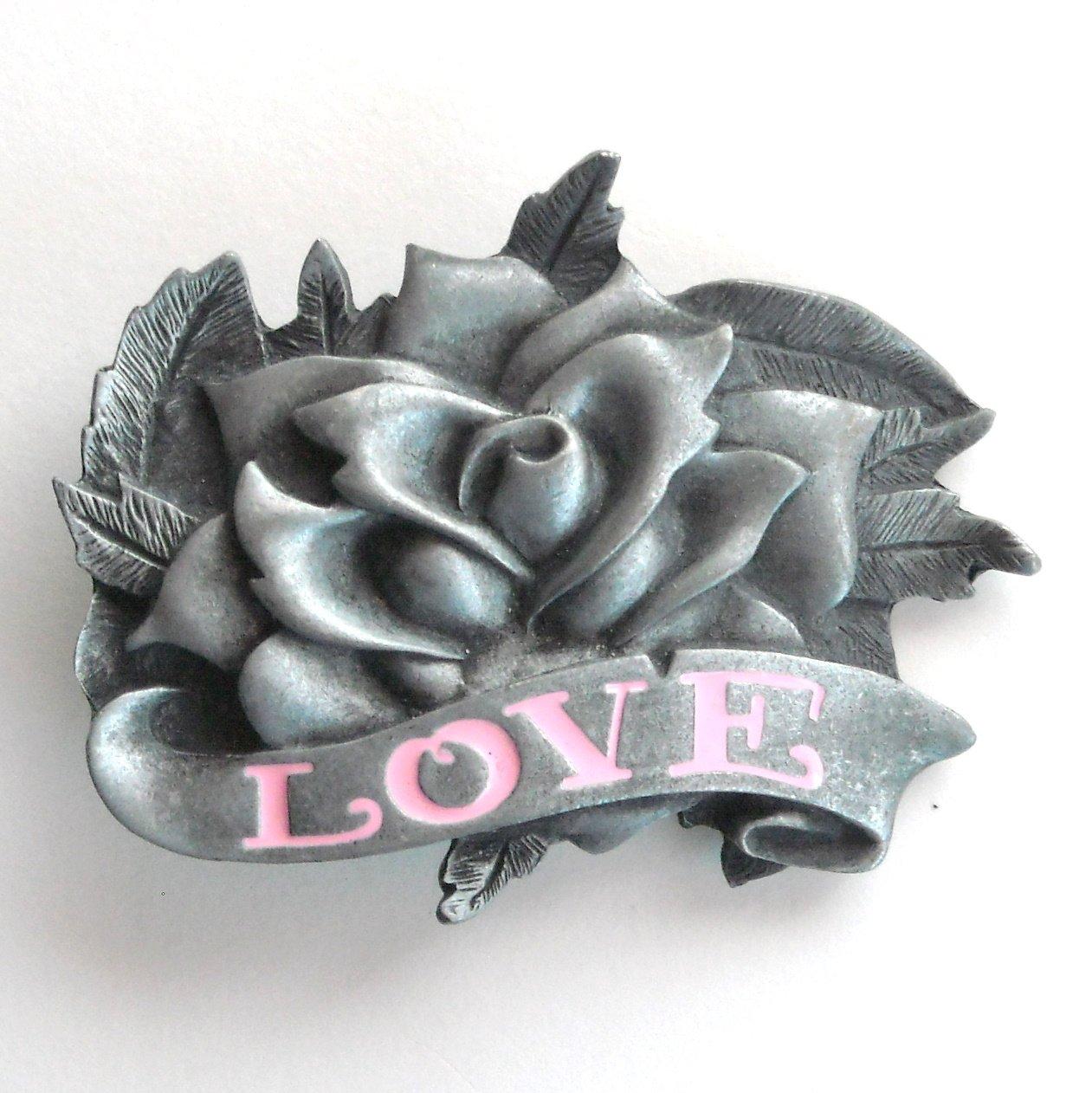 Rose 3D Heavy Metal Pink Enamel Metal Belt Buckle