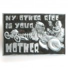 My Other Ride Is Your Mother Heavy Metal Black Enamel Belt Buckle
