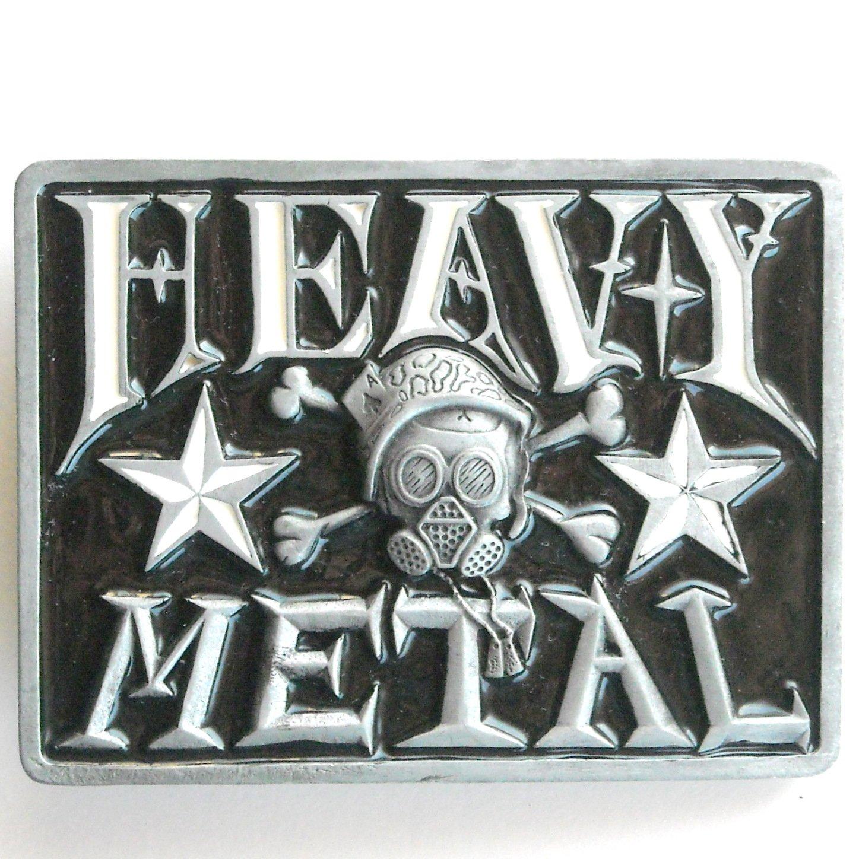 Heavy Metal Black Enamel Rectangle Metal Belt Buckle