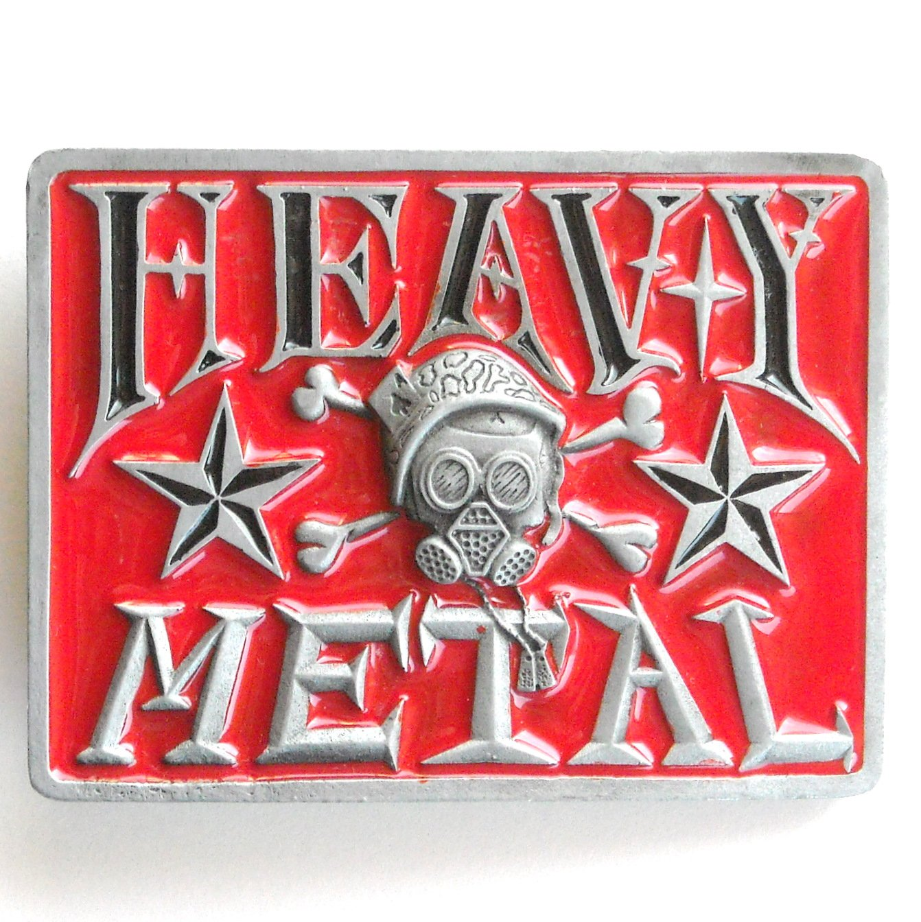 Heavy Metal Red Enamel Rectangle Metal Belt Buckle