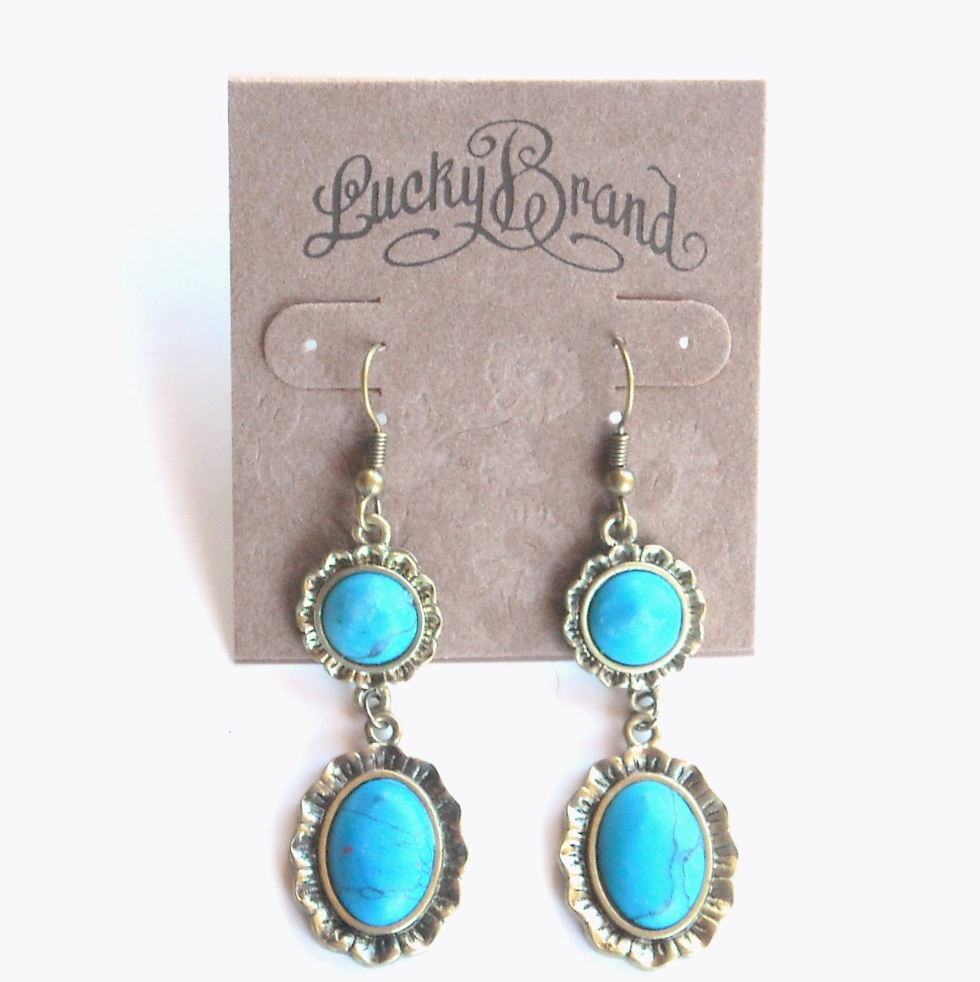Turquoise Double Stone Lucky Brand Brass Drop Dangle Earrings