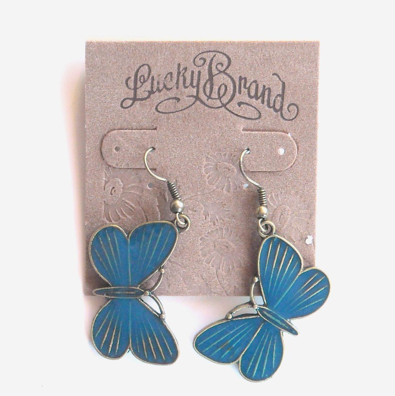 Lucky Brand Blue Butterfly Dangle Earrings