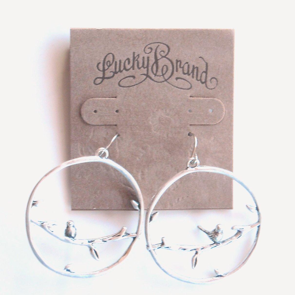 Silver Color Hoop Lucky Brand Dangle Earrings