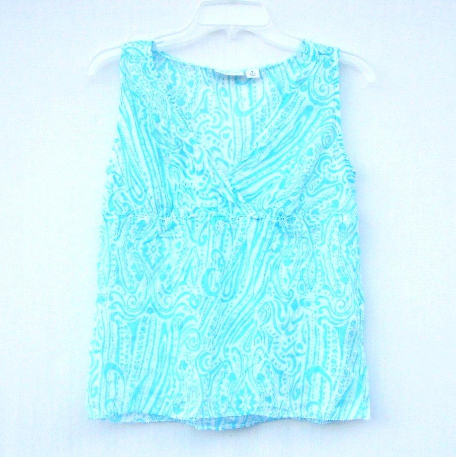Dockers Misses Womens Sleeveless Blue Blouse Shirt Top Size S