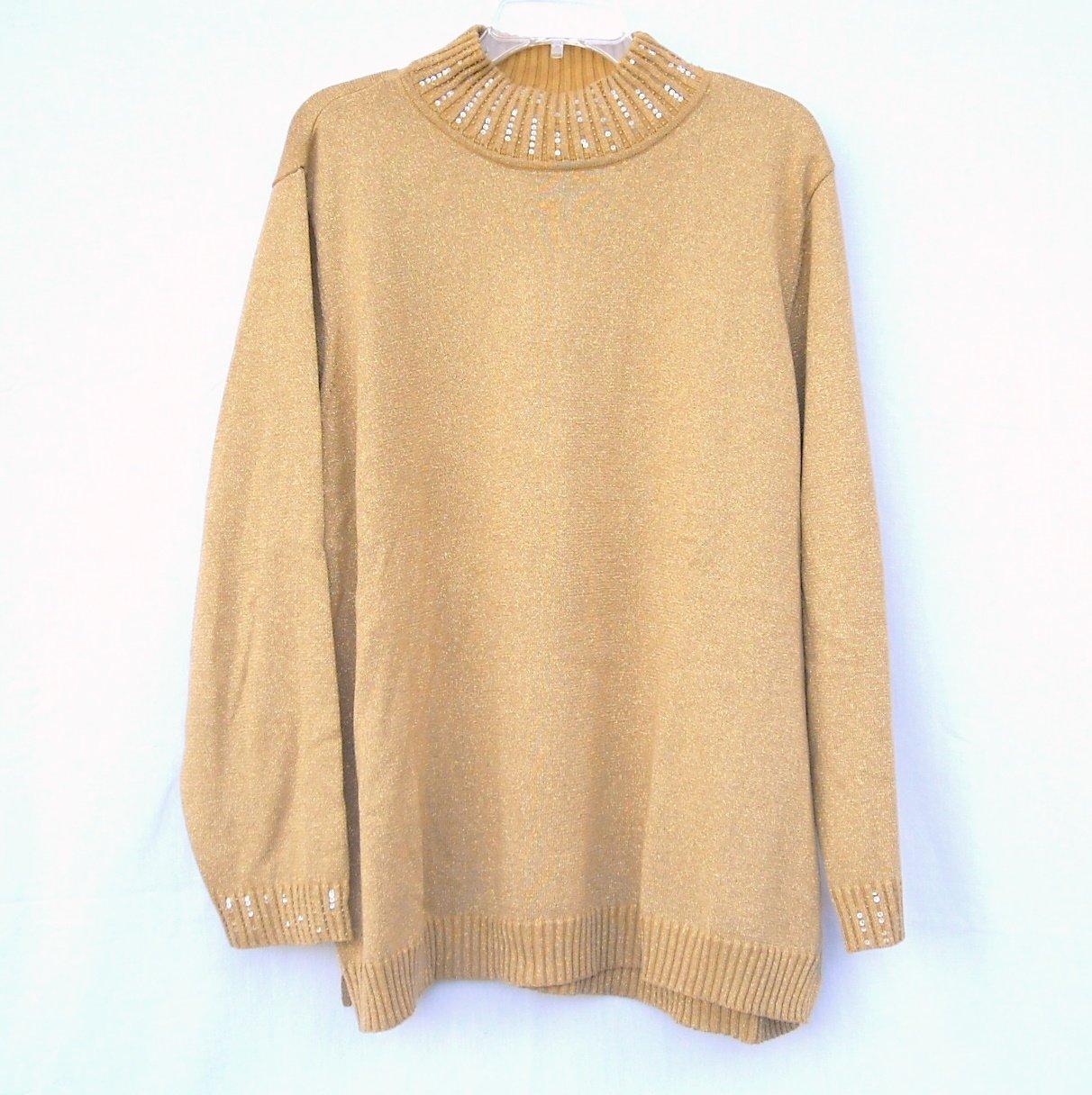 Quacker Factory Womens Golden Glitter Knit Sweater Blouse Top Size 2X