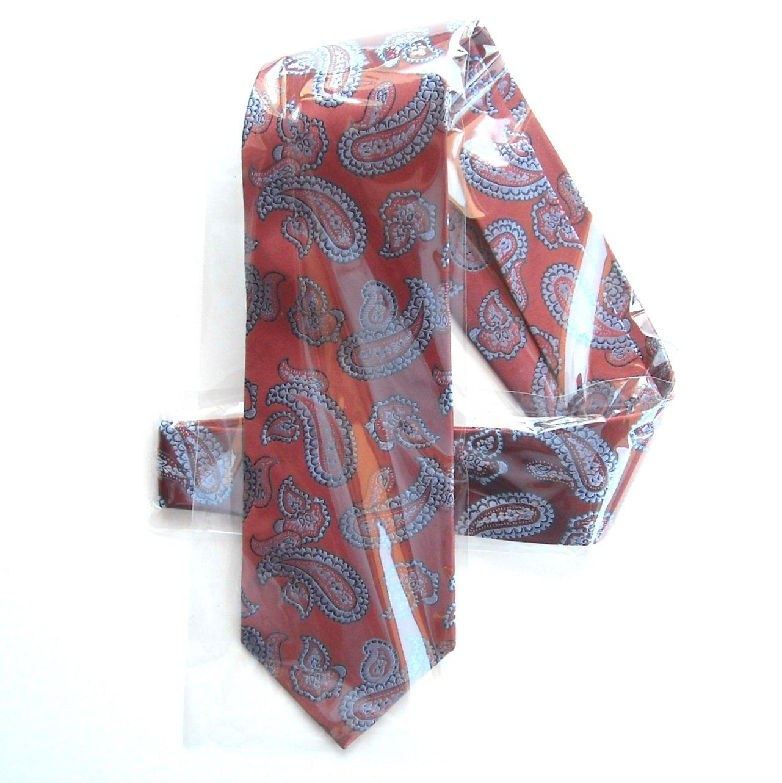George Red Copper Paisley Pattern Mens Silk Necktie Tie