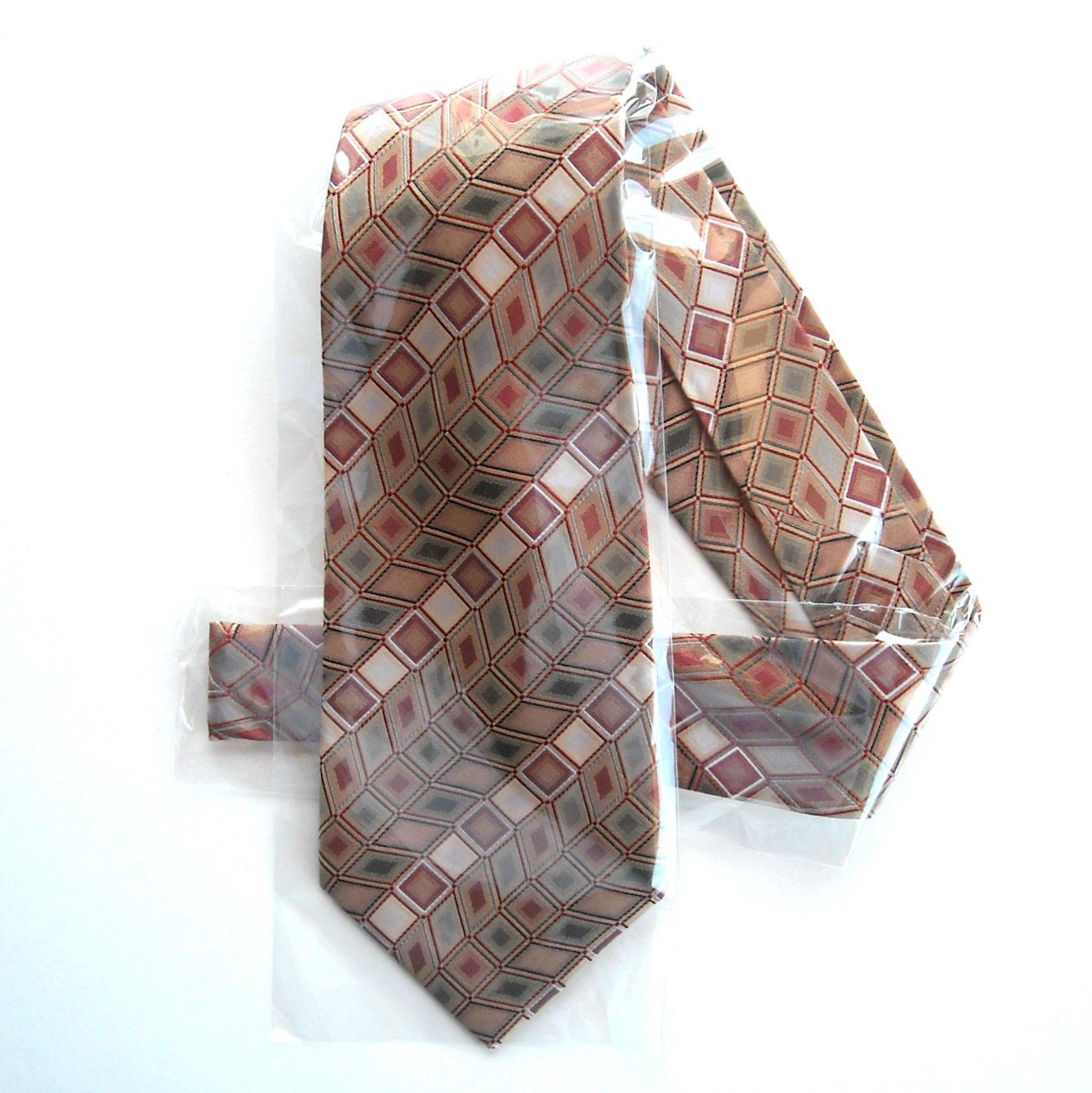 Geoffrey Beene Beige Red Vivid Grid Design Silk Mens Necktie Tie