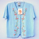 Kathie Lee Womens Embroidered Blouse Shirt Top Size L