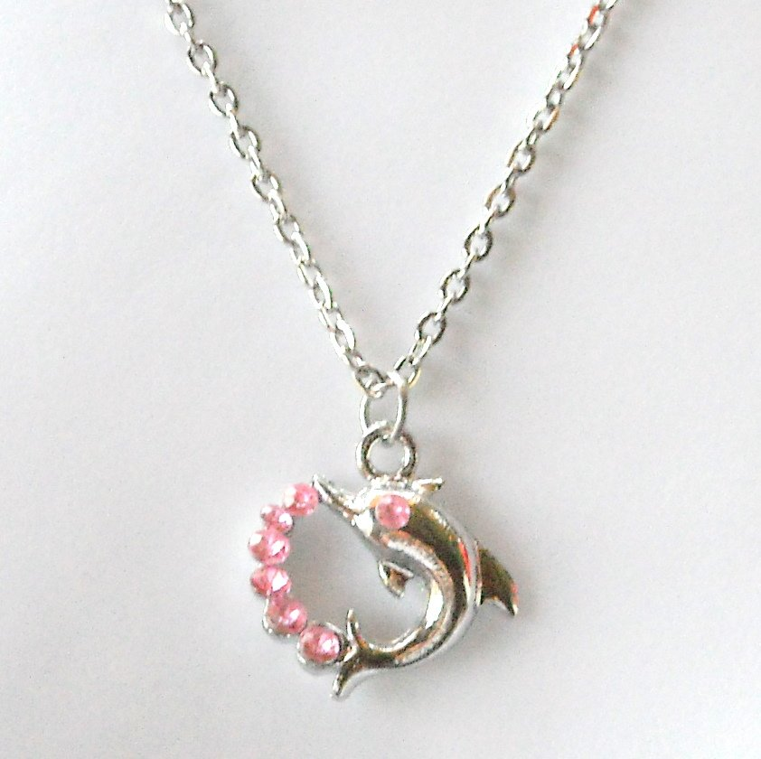 Jumping Dolphin Austrian Crystal Pink Fashion Necklace