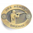 Vintage NRA Member Rifleman Brass Belt Buckle