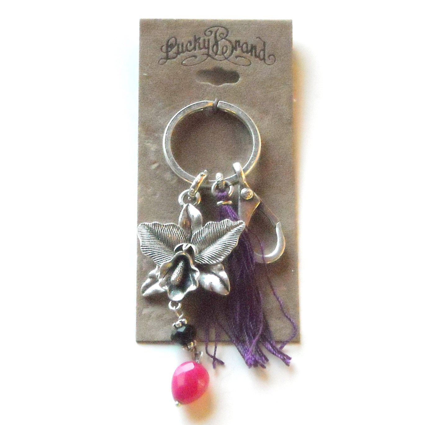 FOB Lucky Brand Cast Silver Toned Flower Metal Keychain
