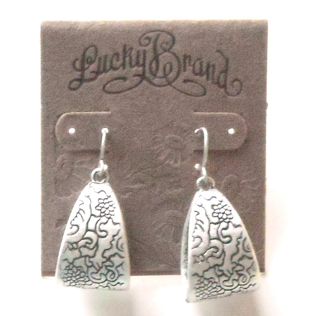 Lucky Brand Silvertone Carved Dangle Earrings