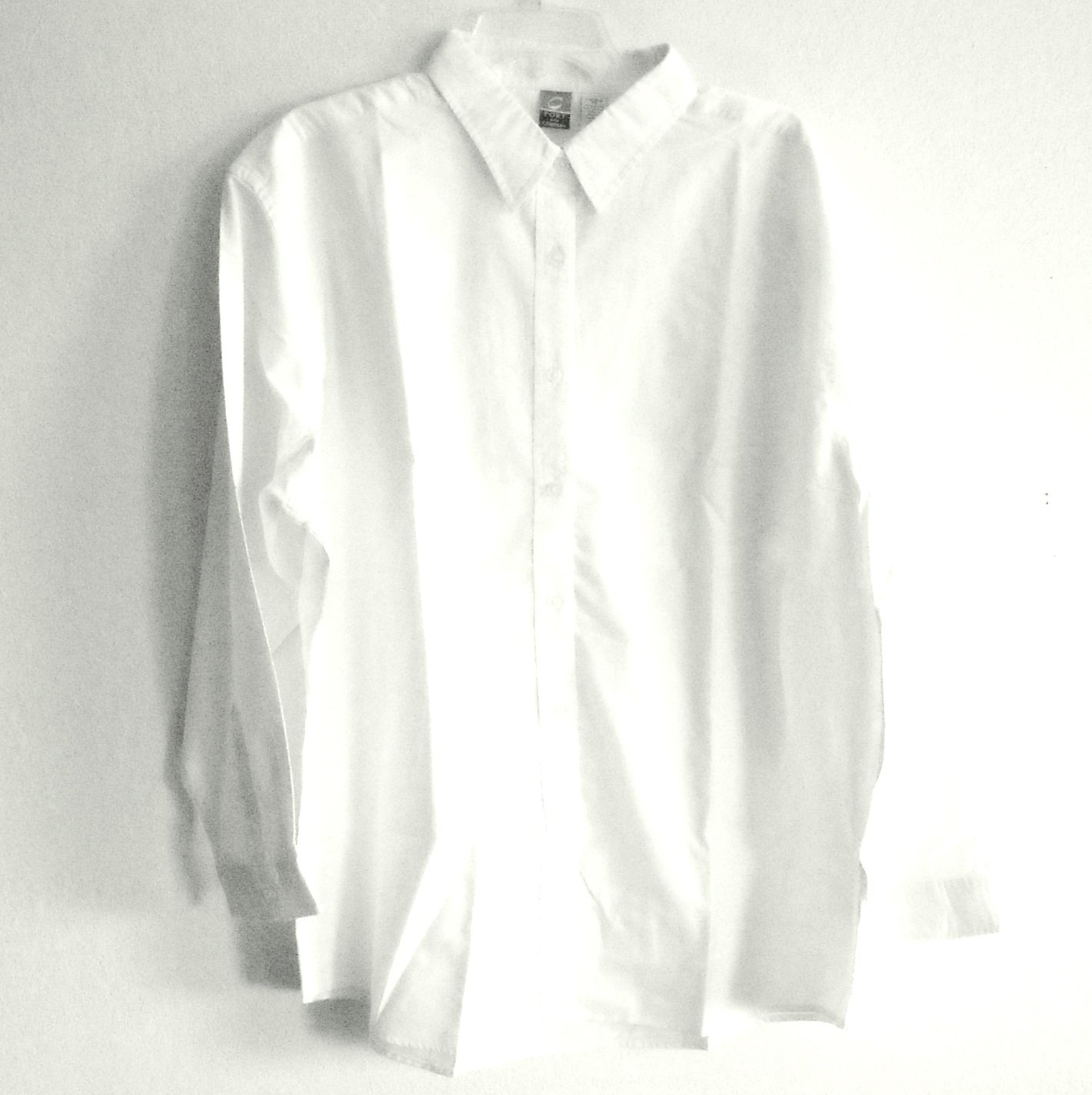 Misses Shirt Top White Denim Port Company Button Up Size S Small