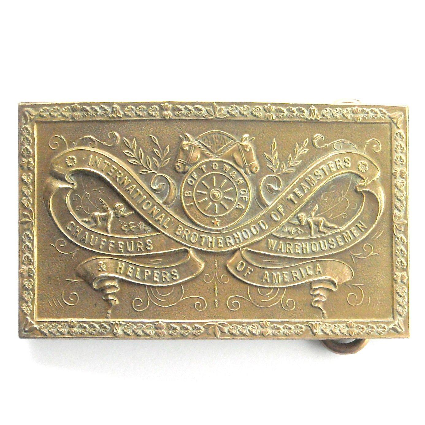 Vintage Bay State Jewelry International Brotherhood of Teamsters mens brass belt buckle