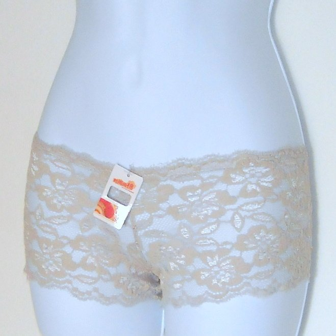 Boyshorts Hipster panties Floral Misses Beige Lace Lot of 3