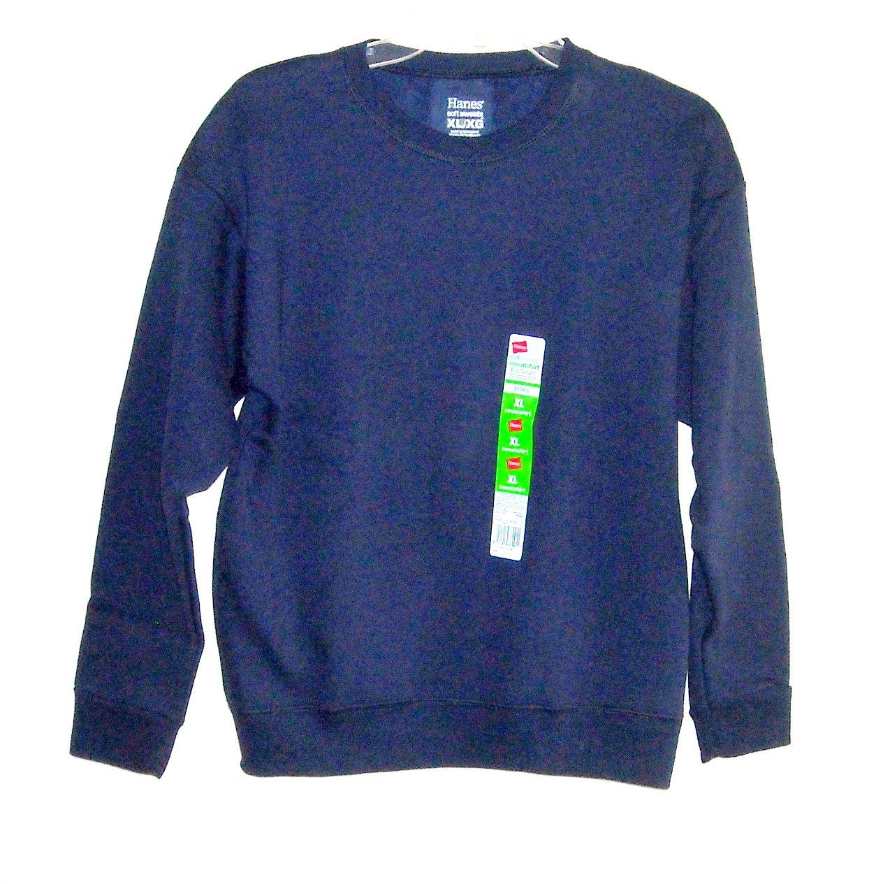 Hanes Boys Fleece Sweatshirt Sweats Navy Blue  XL/XG 14/16