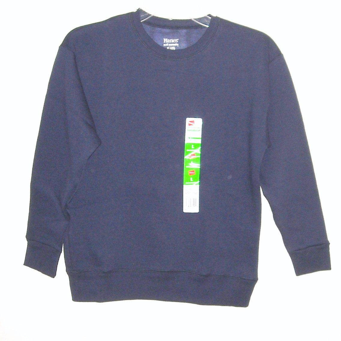 Hanes Boys Soft Navy Blue Sweats Fleece Sweatshirt L / G 10/12