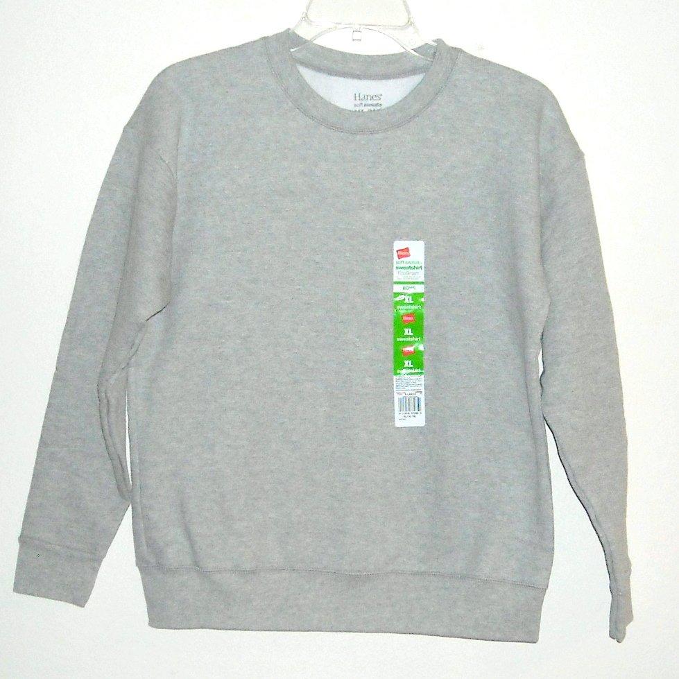 Hanes Boys Soft Grey Sweats Fleece Sweatshirt XL / XG 14/16