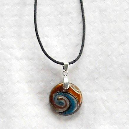 Dichroic glass Murano style long choker length silver swirl round amber glass pendant necklace