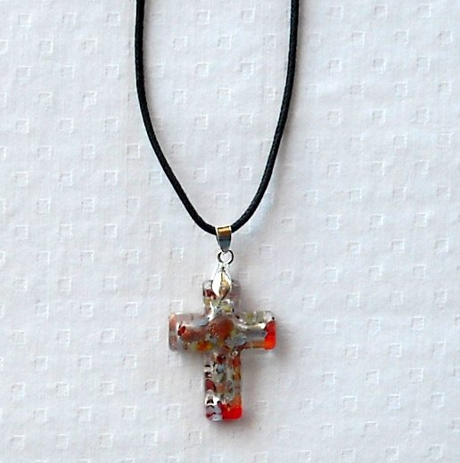Dichroic glass Murano style red cross pendant necklace
