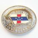 Antilles National Flag Gold Silver Color Large Enamel Belt Buckle