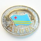 Aruba National Flag Gold Silver Color Large Enamel Belt Buckle