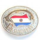 Paraguay National Flag Gold Silver Color Large Enamel Belt Buckle