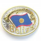 Belize National Flag Gold Silver Color Large Enamel Belt Buckle