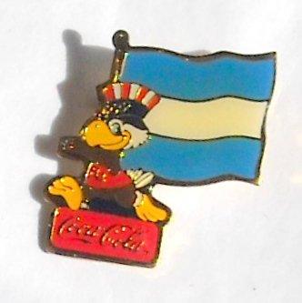1984 Olympics XXIII Los Angeles Sam Coca Cola Argentina flag tie tac hat lapel pin