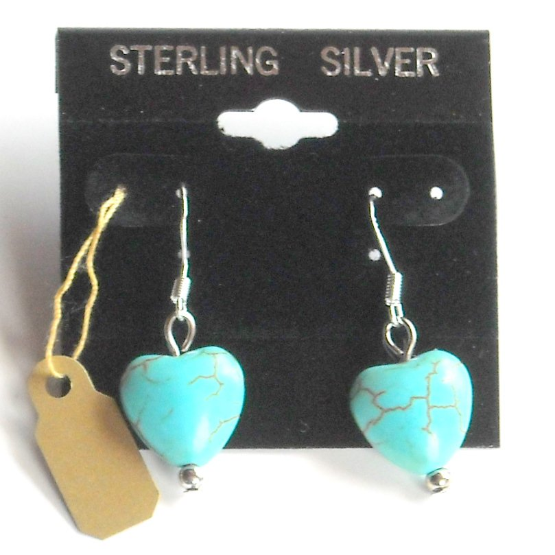 Small Heart Turquoise Sterling Silver Dangle earrings