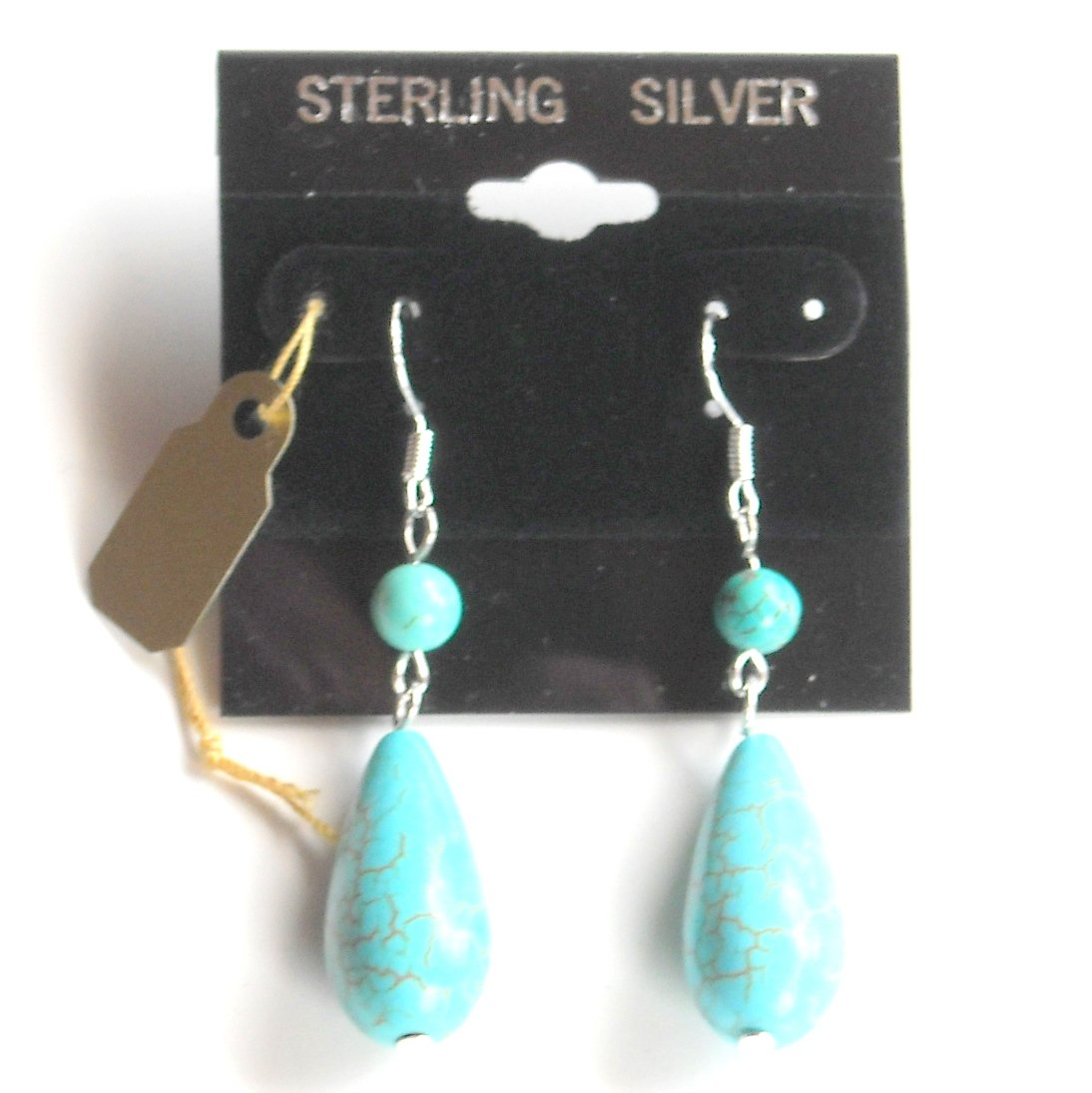 Large Sterling Silver Turquoise Drops Dangle earrings