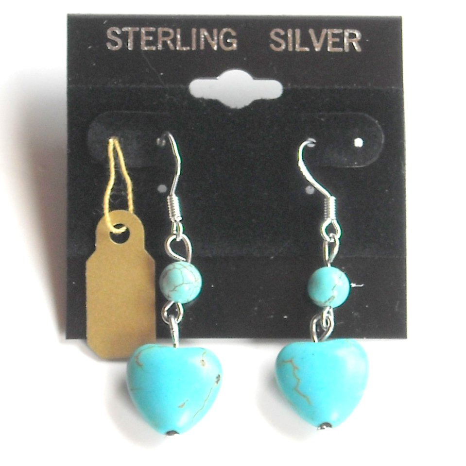 Sterling Silver Small Heart and Round Turquoise Beads Dangle earrings