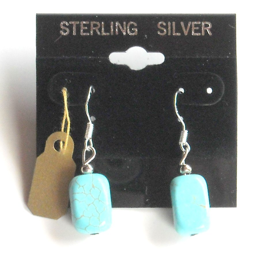 Small Box Shaped Turquoise Beads Sterling Silver Dangle earrings