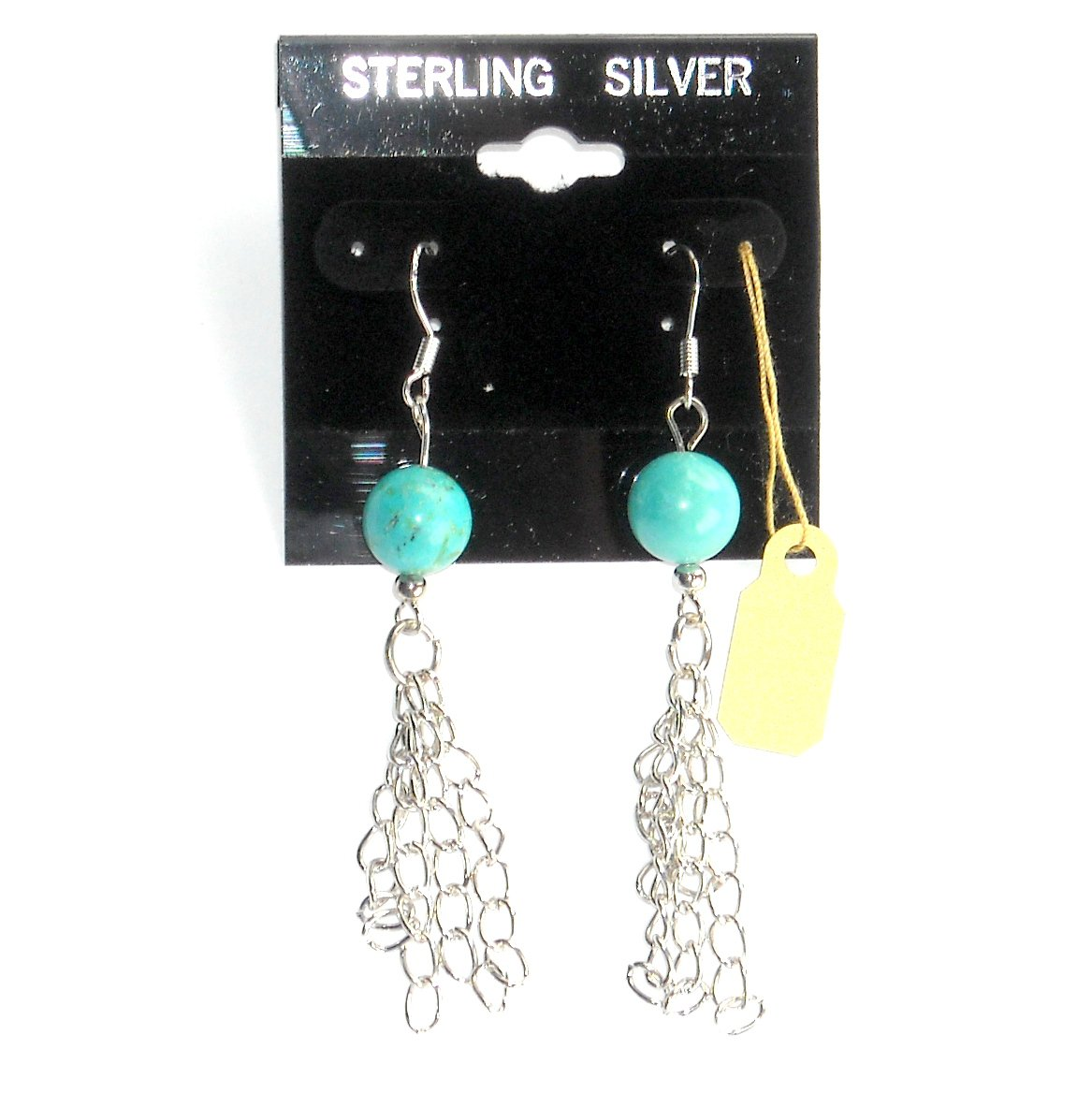 Turquoise Ball And Chains Dangle Sterling Silver Earrings
