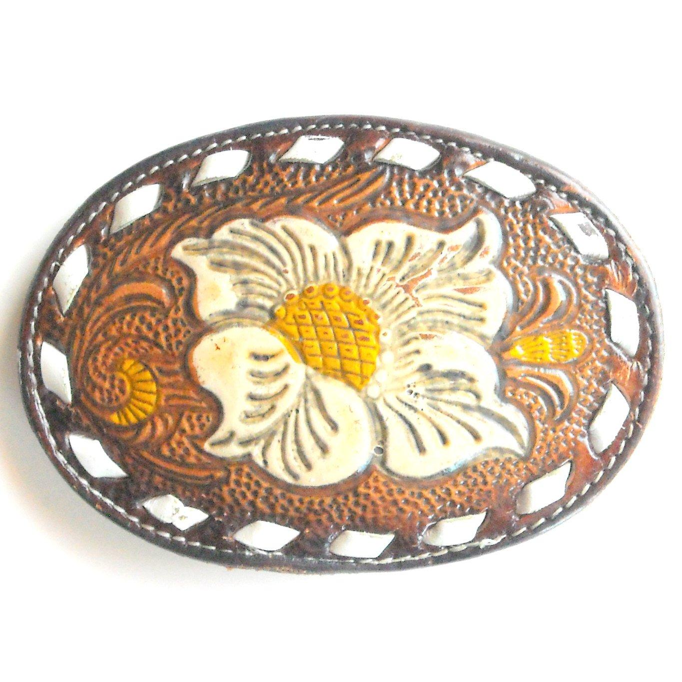Vintage Tony Lama Big Texas Rose Flower Leather Used Belt Buckle