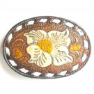 Vintage Tony Lama Big Texas Rose Flower Leather Used Belt Buckle