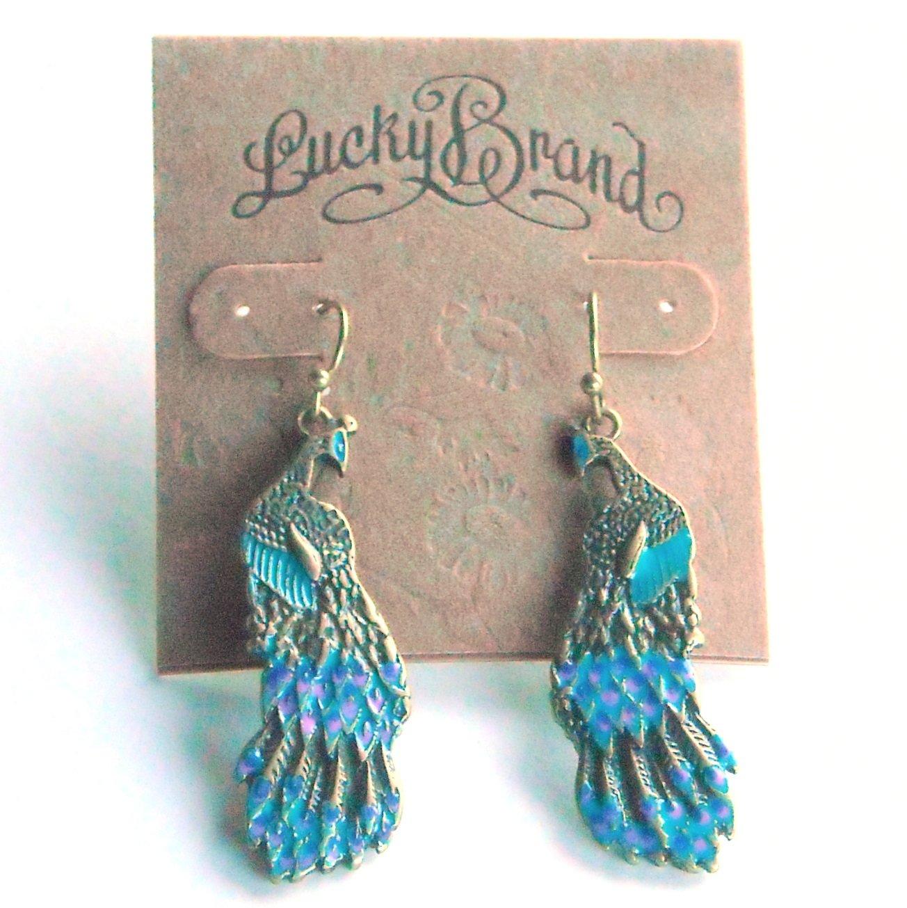 Lucky Brand Blue Peacock Gold Color Dangle earrings for women