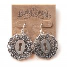 Lucky Brand Openwork Keyhole Silvertone Dangle earrings for women