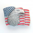 Patriotic American Flag Eagle 3D Siskiyou Pewter Belt Buckle