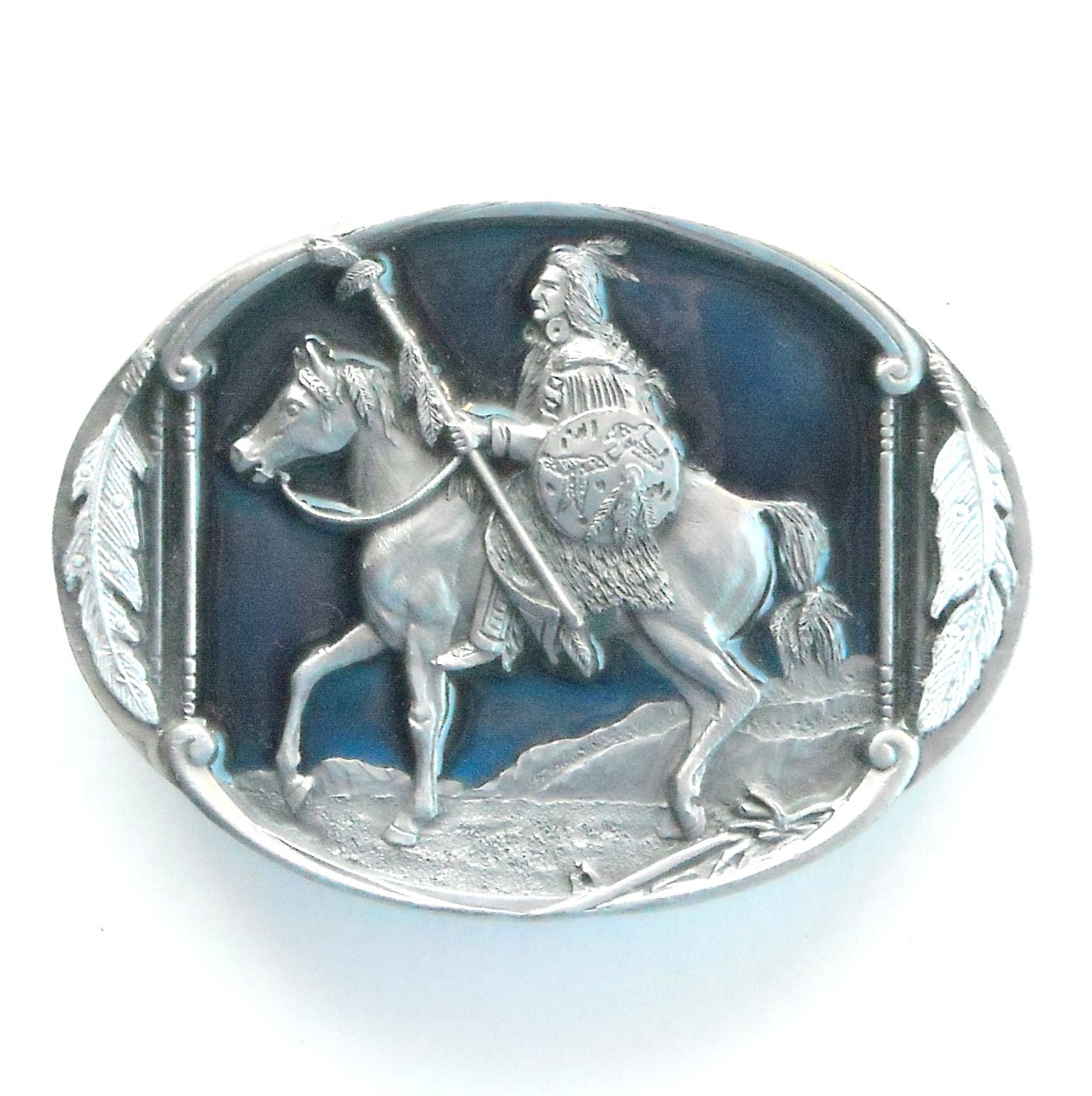 Native American Great Chief Riding 3D Siskiyou Pewter Pewter Belt Buckle