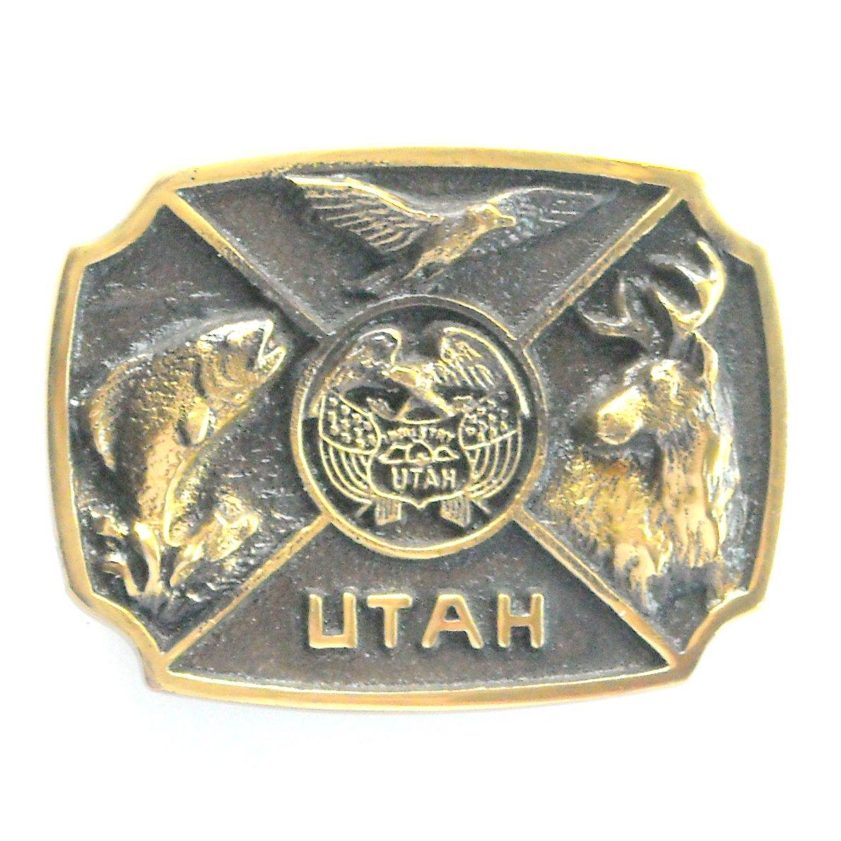 Vintage Utah State Seal 3D Limited Edition 1452 brass belt buckle