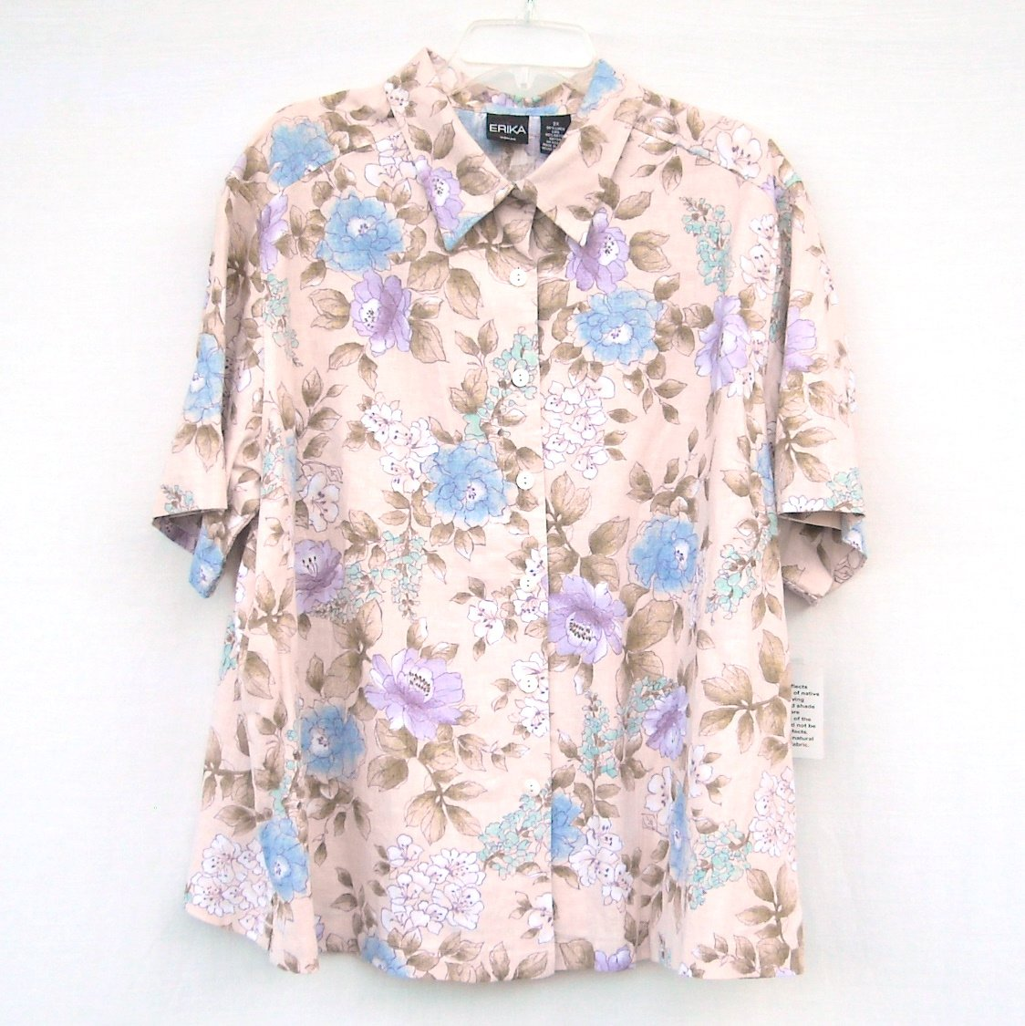 Erica Misses Womens Beige Floral Linen Shirt Top Plus Size 2X