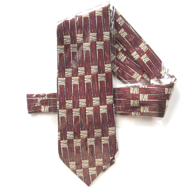 Vintage Jhane Barnes Geometric Burgundy Design Mens Silk Necktie Tie