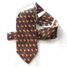Marshall Field Brown Rust Beige Geometric Design mens Silk necktie tie