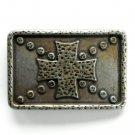 Old Knights Shield Cross Bronze color metal belt buckle