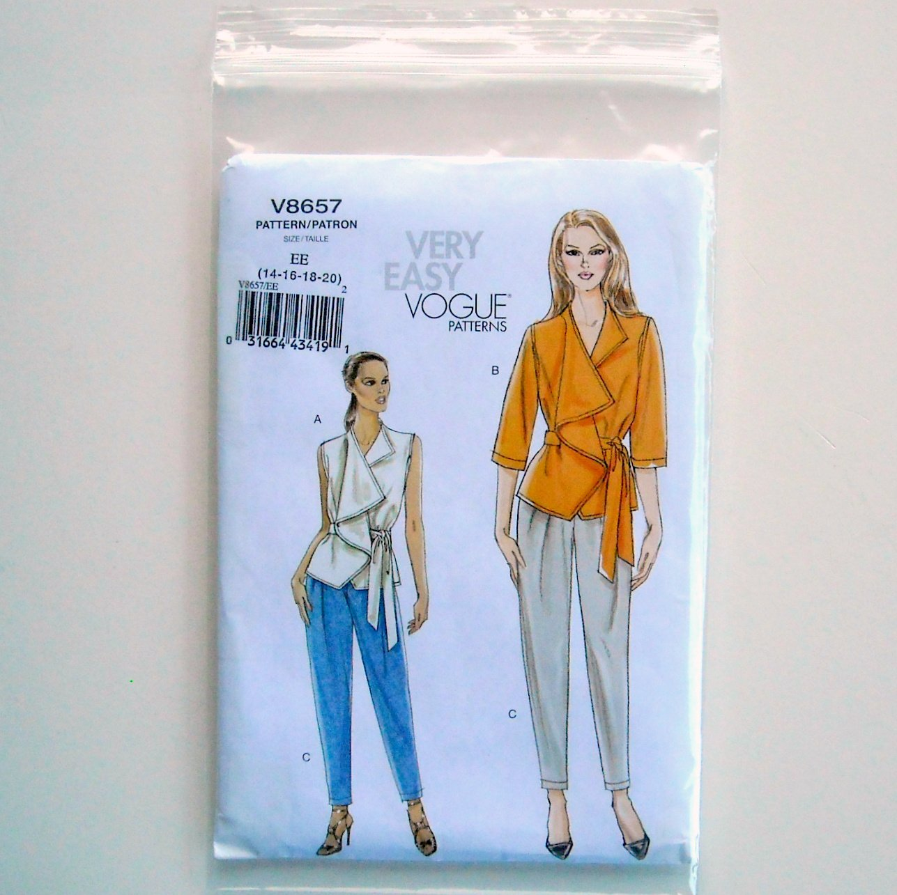 Misses Top Belt Pants Vogue Very Easy Sewing Pattern V8657