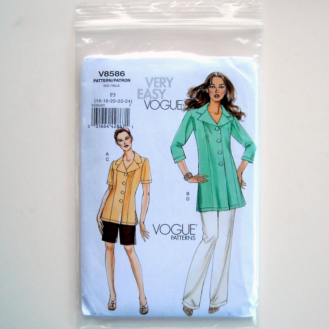 Misses Petite Jacket Shorts Pants Vogue Very Easy Sewing Pattern V8586